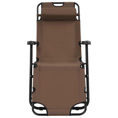 vidaXL foldbare liggestole 2 stk. med fodstøtter stål brun