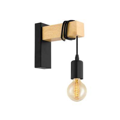 EGLO væglampe Townshend 1 pære træ sort og beige