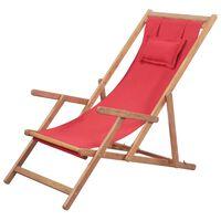 vidaXL foldbar strandstol stof og træstel rød