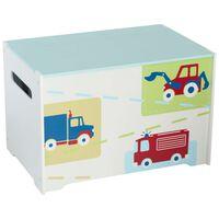 Worlds Apart legetøjskasse lastbiler og traktorer 60x39x39 cm hvid WORL230009