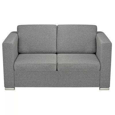 vidaXL 2 pers. sofa stof lysegrå