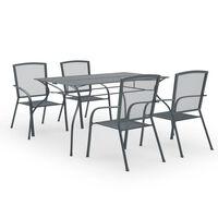 vidaXL spisebordssæt til haven 5 dele stål antracitgrå