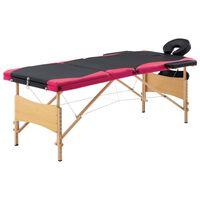 vidaXL foldbart massagebord 3 zoner træ sort og pink
