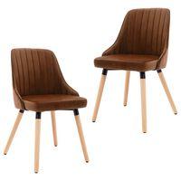 vidaXL spisebordsstole 2 stk. fløjl brun