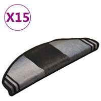 vidaXL selvklæbende trappemåtter 15 stk. 65x21x4 cm sort og grå