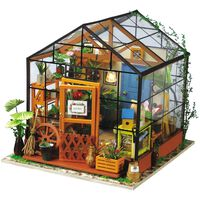 Robotime DIY-miniaturesæt Cathy's Flower House med LED-lys