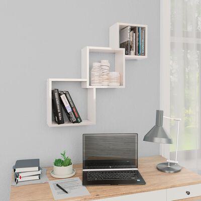 vidaXL kubeformede væghylder 84,5 x 15 x 27 cm spånplade hvid højglans