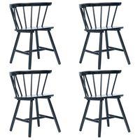 vidaXL spisebordsstole 4 stk. massivt gummitræ sort