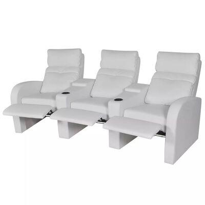 vidaXL LED lænestol i to dele 2+3 sæder kunstlæder hvid