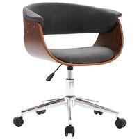 vidaXL drejelig kontorstol bøjet træ og stof grå