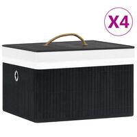 vidaXL opbevaringskasser 4 stk. bambus sort