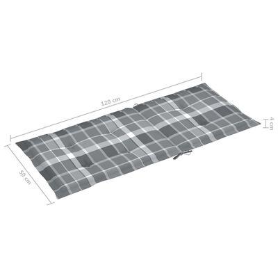 vidaXL hynder til havestol 4 stk. 120x50x7 cm gråternet mønster