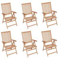 vidaXL lænestole til haven 6 stk. massivt teaktræ