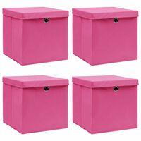 vidaXL opbevaringskasser med låg 4 stk. 32x32x32 stof pink