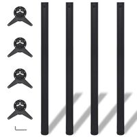 4 højdejusterbare bordben sort 1100 mm