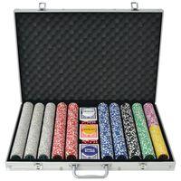 vidaXL pokersæt med 1.000 laserchips aluminium