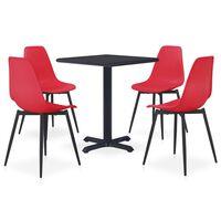 vidaXL udendørs spisebordssæt 5 dele metal og PP rød