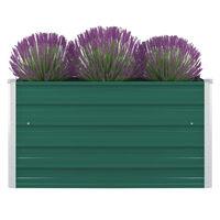 vidaXL forhøjet blomsterbed 100 x 100 x 45 cm galvaniseret stål grøn