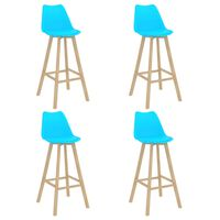 vidaXL barstole 4 stk. PP og massivt bøgetræ blå