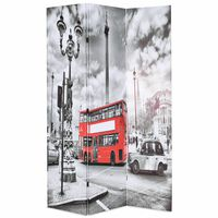 vidaXL foldbar rumdeler 120 x 170 cm London bus sort og hvid