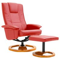 vidaXL drejelig lænestol med fodskammel rød kunstlæder