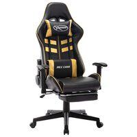 vidaXL gamingstol med fodstøtte kunstlæder sort og guldfarvet