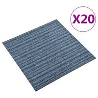vidaXL tæppefliser 20 stk. 5 m² 50x50 cm stribet blå