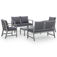 vidaXL loungesæt til haven 5 dele med hynde massivt akacietræ grå