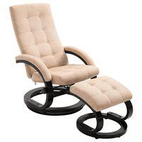 vidaXL lænestol med fodskammel ruskindsstof cremefarvet