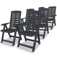 vidaXL havelænestole 6 stk. plastik antracitgrå