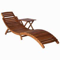 vidaXL liggestol med bord massivt akacietræ brun