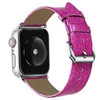 Apple Watch armbånd 38 mm - ur læder - Glitter mørk pink