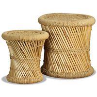 vidaXL taburetsæt 2 dele bambus jute