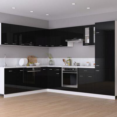 vidaXL skab til køleskab 60x57x207 cm spånplade sort højglans