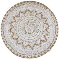 vidaXL gulvtæppe flettet jute med print 90 cm rund