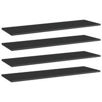 vidaXL boghylder 4 stk. 100x30x1,5 cm spånplade sort højglans