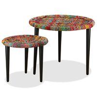 vidaXL sofabordssæt i 2 dele vævede chindi-detaljer flerfarvet