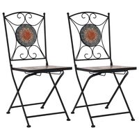 vidaXL bistrostole 2 stk. med mosaikdesign orange/grå