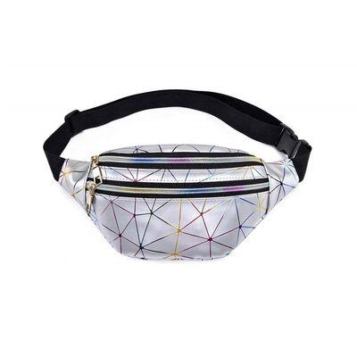 Sølv holografisk talje taske