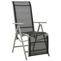 vidaXL postitionsstol textilene og aluminium sølvfarvet