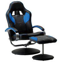 vidaXL lænestol med fodskammel blå kunstlæder