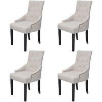 vidaXL spisebordsstole 4 stk. stof cremegrå