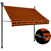 vidaXL manuel foldemarkise med LED 200 cm orange og brun
