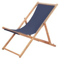 vidaXL foldbar strandstol stof og træstel blå