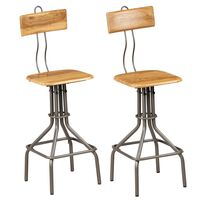 vidaXL barstole 2 stk. massivt genanvendt teaktræ
