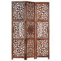 vidaXL 3-panels rumdeler håndskåret 120 x 165 cm massivt mangotræ brun