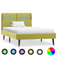 vidaXL sengestel med LED 90x200 cm stof grøn