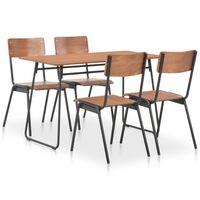 vidaXL 5 dele spisebordssæt massivt krydsfiner stål brun