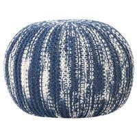 vidaXL håndstrikket puf 50x35 cm uld blå og hvid