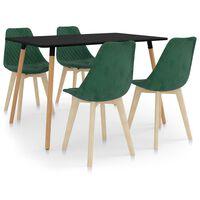 vidaXL spisebordssæt 5 dele mørkegrøn